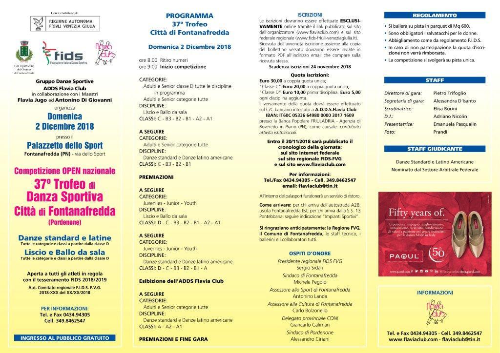 37° Trofeo di  danza sportiva Città di Fontanafredda - 2 dicembre 2018